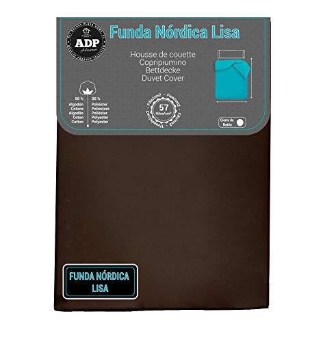 ADP Home - Funda nórdica Lisa, Calidad 144Hilos, 17 Hermosos Colores, Cama de 135 cm - Color: Chocolate