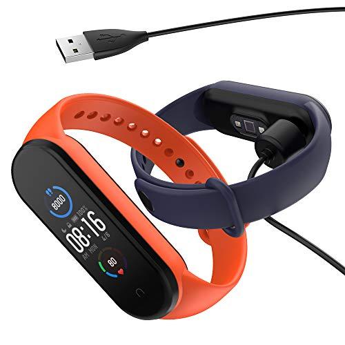 Hianjoo 2 Piezas Correa con 1 Cargador Compatible con Xiaomi Mi Band 5, Pulsera Banda de Deportes Suave Ajustable Silicona Reemplazo Bracelet Compatible con Xiaomi Mi Smart Band 5, Azul+Naranja