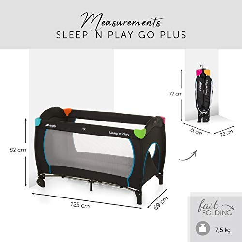 Hauck Sleep N Play Go Plus Kombi-Reisebett, 4-teilig, ab Geburt bis 15 kg, inkl. Gesetzl. Schlupf, Rollen, Matratze, Tragetasche, mehrfarbig schwarz - 4
