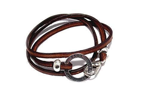 Wickelarmband, Leder mit Ring Glaube-Liebe-Hoffnung