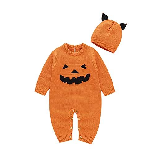 Siyova Halloween - Conjunto de 2 pelele de manga larga + gorro de calabaza para Halloween, NARANJA, 12-18 meses