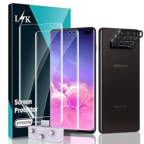 LϟK 5 Pack Protector de Pantalla para Samsung Galaxy S10 Plus S10+ con 2 Pack HD Película de TPU y 3 Pack Protector de Lente de Cámara - Negro - Sin Burbujas Huella Digital Ultrasónica