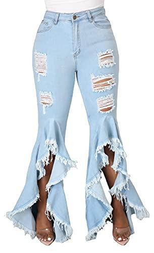 Women's Bell Bottom Jeans Destoryed Ripped Flare Jeans Elastic Waist Raw Hem Denim Pants