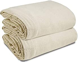 Canvas Drop Cloth (Size 9 x 12 Feet) Pack of 2 - Pure Cotton Drop Cloth – Painters Drop Cloth for Furniture & Floor Protection - All Purpose Thick Cloth Duck Canvas with Sturdy Double Stitched Edges