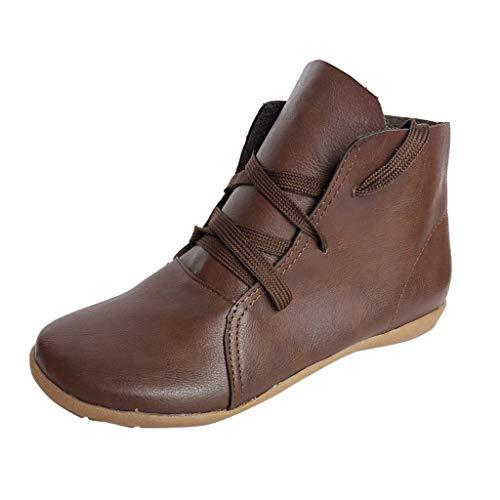 Fannyfuny Zapatos Mujeres Casuales Botas Cortos Vintage Invierno Botines Cómodas Zapatillas de Deporte Planos de Cuero con Cordones Retro Livianos Ocasionales Ligeros