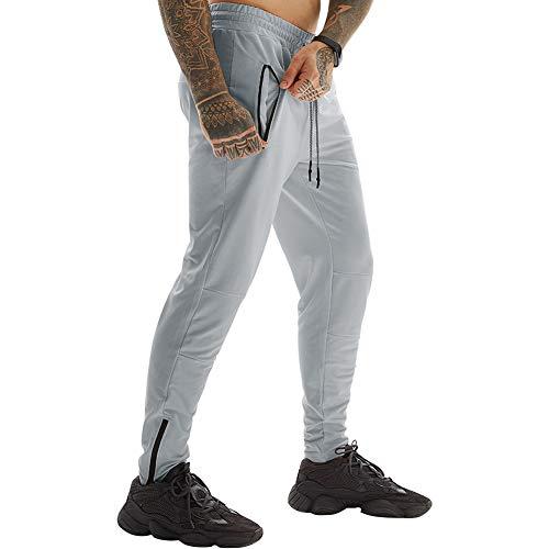 JWJ Men's Joggers Sweatpants Sports Pants Zipper Multi Pockets Running Pant Gym Fitness Trousers for Men Large Gray