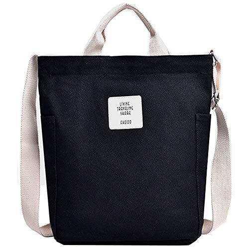 KIWITECH Canvas Tasche,Groß Damen Umhängetasche Crossbody Bag Tasche Schultertasche Damen-schwarz Handtasche für Fraun Mädchen Einkauf-schwarz