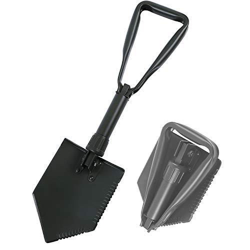 REDCAMP Pelle Pliante Militaire, Mini Pelle Multifonctionnelle et Robuste pour Le Camping, la Randonnée, la Survie et Le Jardinage, Noir