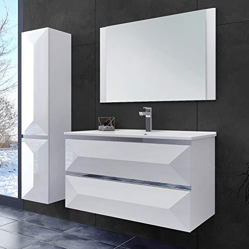 OIMEX ELISA 70 cm Designer Badmöbel Set Waschtisch Unterschrank mit Waschbecken mit Spiegel Hochglanz Weiß 2 Schubladen, Seitenschränke auf Wunsch dazu, Größe: ohne Seitenschrank