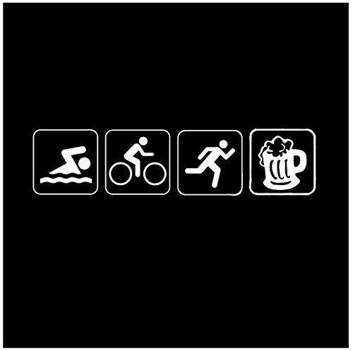 Lustige Autoaufkleber Triathlon Schwimmen Bike Run Und Bier Auto Aufkleber Vinyl Silhouette 17,7 * 4,2 Cm (5 P)