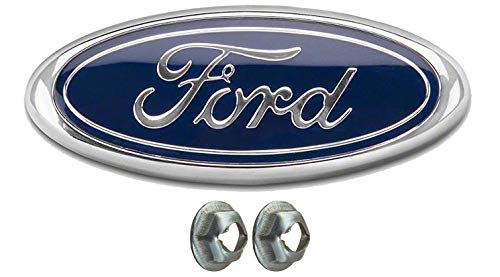 Muzzys FORD F150 Dark Blue Grille or Tailgate Emblem WITH NUTS 2005-14, Oval 9'X3.5', 3 Mounting Tabs, Front Grill Badge Name Plate Also Fits 05-07 F250 F350 11-14 Edge 11-16 Explorer 06-11 Ranger