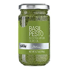 Basil Pesto is made with Genovese basil D.O.P. Intensely fragrant This authentic Italian Pesto contains Extra Virgin Olive Oil, Cashew nuts, pine nuts, and salt This famous Italian sauce is served with spaghetti, lasagna, and gnocchi
