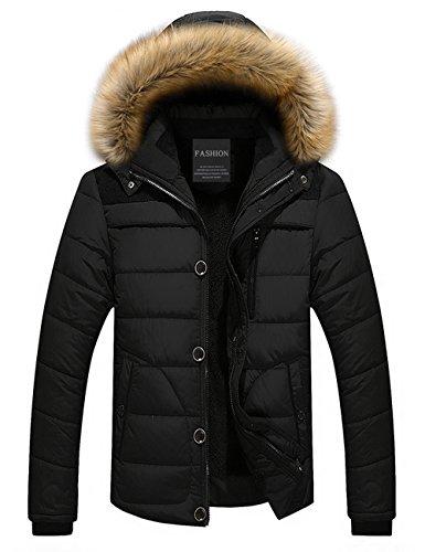 Menschwear Uomo Jacket Down Puffer Giacca Foderato di Pile Incappucciato Piumino Collare di Pelliccia Addensato (2XL,Nero)