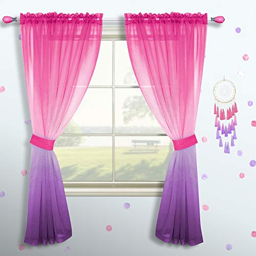 Pink and Purple Curtains for Girls Bedroom Decor Set 1 Single Panel Pocket Window Voile Pastel Sheer Ombre Rainbow Curtain for Kid Room Decoration Teen Princess 63 Inch Length Gradient Lilac Lavender