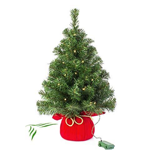 artplants.de Mini Sapin de Noël Artificiel VARSOVIE, Rouge, Guirlande LED, 60cm, Ø 40cm - Sapin Artificiel Lumineux - Arbre de Noël Artificiel