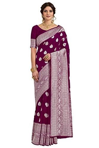 CLOTHAM Women's Banarasi Silk Saree With Blouse Piece (Kara135_Parent)