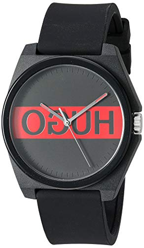 HUGO by Hugo Boss - Reloj de cuarzo para hombre con correa de goma, color negro, 20 (modelo: 1520015)