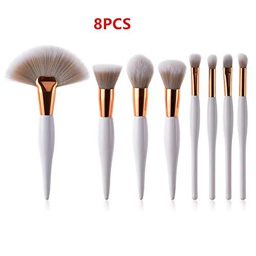 MEIMEIDA 9pcs / set pinceaux de maquillage ensemble poignée de conception spéciale pour kit de pinceau pinceau poudre fard à paupières fard à paupières Foundation, 8pcs blanc