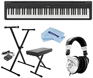 Kawai ES110 88-Key Portable Digital Piano, Stylish Black - Bundle With On-Stage KPK6520 Keyboard Stand/Bench Pack with Sustain Pedal, Behringer HPS3000 HP Studio Headphones, Microfiber Cloth