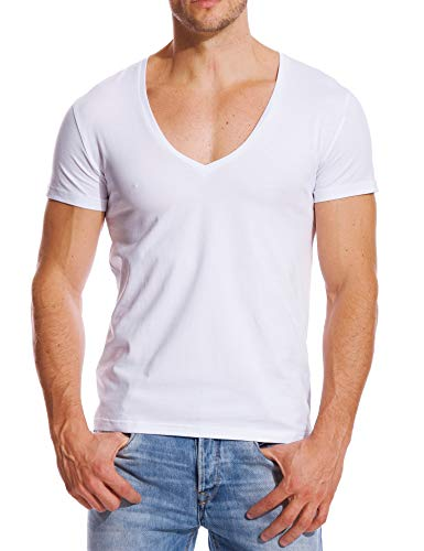 Stretch T Shirt for Men Deep V Neck Tee Muscle Fit Low Cut Male Top White M