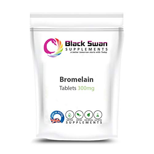Black Swan Bromelain 300mg Tablets - UK Made - Protein Digestive Enzyme Supplement – for Immune System and Anti-Inflammatory – Veg Supplement (30 tabs)