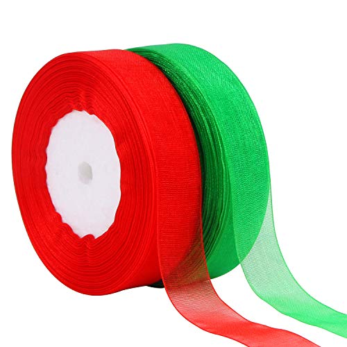 """DECYOOL 2 Rolls 100 Yards Christmas Ribbons Organza Holiday Festival Ribbons 4/5"""" Wide for Gift Wrapping Decoration, Red & Green"""