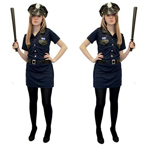 Polizei-Kostüm für Damen, Erwachsenenkostüm, Uniform, Junggesellinnenabschied, Outfit Gr. 38-40, blau
