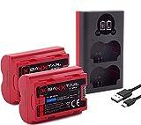 Baxxtar PRO 2X Compatible con la batería Fujifilm NP-W235 (real 2250mAh) con Infochip - Mini 18882 USB Dual LCD cargador -- para Fuji X-T4