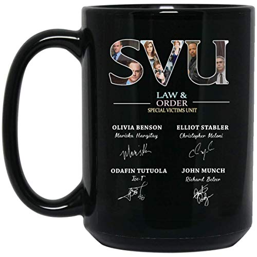 SVU LAW&ORDER Special Victims Unit With Signature Of Actors And Actress - 15 Oz Black Home&Office Mug Special Present For Film Lover SVU Lover
