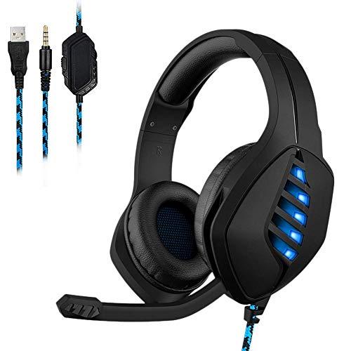 Gaming Headset, 3.5MM Hoofdtelefoon Microfoon Ruisonderdrukking en Volume Controle Monochroom ijs Blauw Licht Effect Compatibel met PS4, Xbox One, Schakelaar, PC, Mac, Laptop
