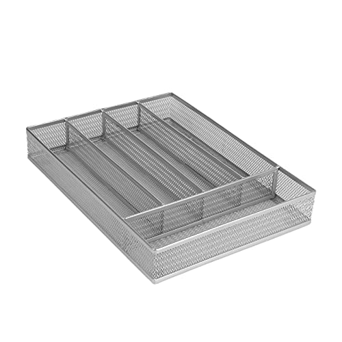 Classic Flatware Drawer Organizer,5-Compartments,Large Space Saving...
