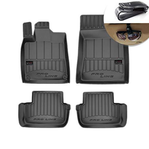 Frogum Alfombrillas de Goma 3D Alfombrillas de Coche TPE, compatibles con el Juego Peugeot 407 2004-2011, Borde Muy Alto, Juego de 4 Piezas con Sistema de Montaje Negro