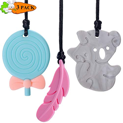 2020 New Version Sensory Chew Necklace for Girls & Boys Chewing Teething Necklace Set Cute Silicone Teether Chewy Necklace Perfect for Autism, Biting, ADHD, SPD, 3 Pack(Pink,Grey,Blue)