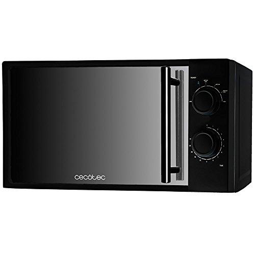 Cecotec Sencillo AllBlack Microondas con Frontal Espejo, Capacidad 20L, 700 W, temporizador hasta 30 min, 6 niveles de potencia, Negro