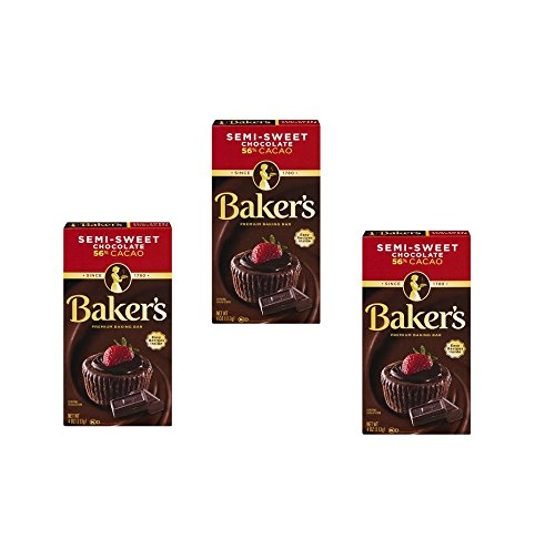 Baker's Baking Chocolate Bar 56% Cacao Semi-Sweet, 4 Oz (Pack of 3)