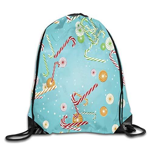 JHUIK Zaino scuola zaino con coulisse Zaino con cordoncino natalizio in zucchero filato, borsa a tracolla Zaino da viaggio Zaino per palestra Shopping Sport Yoga