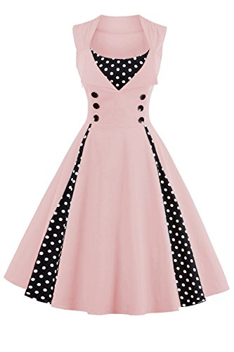 Babyonline Damen 1950 Marilyn Monroe Rockabilly großen Swing Kleid 2XL, Rosa