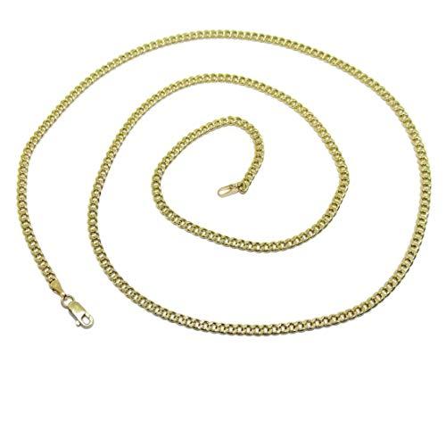 Cadena de Oro Amarillo de 18k para Hombre Tipo barbada de 3mm de Ancha y 60cm de Larga. Cierre mosquetón