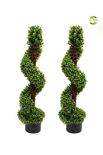 2 x Artificial Topiary Boxwood Spiral Trees (3ft/90cm)