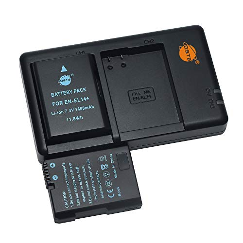 EN-EL14 EL14a - Batería de repuesto recargable y cargador dual compatible con Nikon BG-2G, Coolpix P7000, P7100, P7700, Df, D5200, D5300, cámara digital, etc.