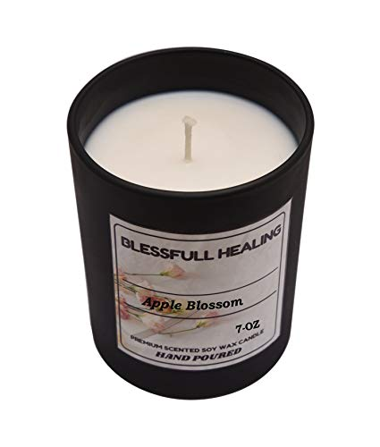 Blessfull Healing Fragrance Apple Blossom 100% Soy Wax Scented Candle 7 Oz Matte Black Glass Jar without Lid Long Burning 100% Vegan Aromatherapy Christmas Gifting Candle
