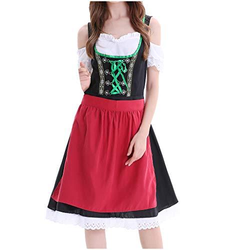 Pageantry Damen Dirndl Kurz Prinzessin Kleid Elegant Midi Trachtenkleid für Oktoberfest Sexy Spitze Blumenprint Rüschen - DREI Teilig: Kleid, Bluse, Schürze - Viele Stile