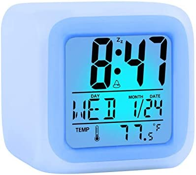 Alarm Clock Kids Wake Up Easy Setting Digital Travel for Boys Girls Large Display Time Date product image