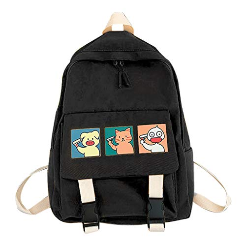 Cartoon Rucksack Nylon Backpack School Bag Casual College Daypack for Teenager, Size:app. 29 X 13 X 38cm / 11.41 X 5.11 X 14.96in