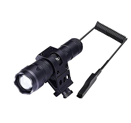 MA3TY Tactical Flashlight with Picatinny Rail Mount for AR15, Zoomable 1200Lumens Weapon Light with Pressure Switch, Clip, Rechargeable Battery