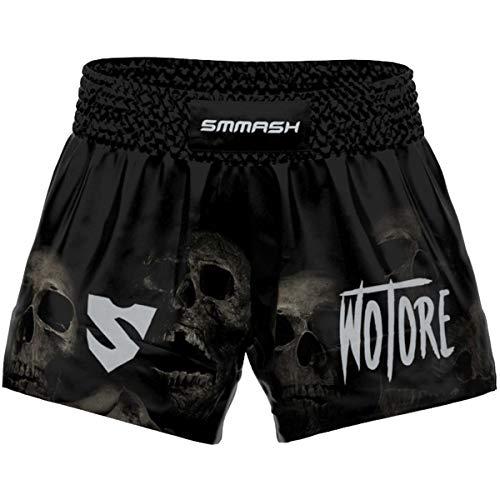 SMMASH Wotore Spirit Profesionalmente Pantalones Cortos de Muay Thai Hombre, de Boxeo, Artes Marciales, BJJ, Grappling, Krav Maga, Material Transpirable y Antibacteriano, (XL)