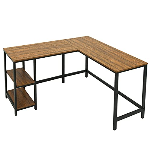 Escritorio esquinero en forma de L con 2 estantes de almacenamiento para oficina, hogar, salón, dormitorio, 140 x 130 x 76 cm, roble vintage