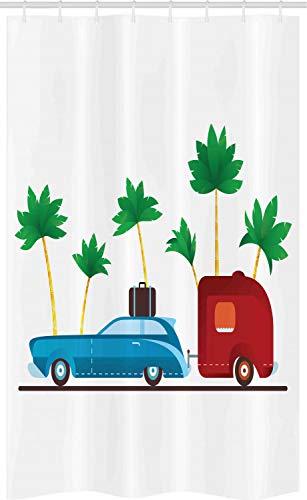 ABAKUHAUS happy Camper Douchegordijn, Exotic Travel Theme, voor Douchecabine Stoffen Badkamer Decoratie Set met Ophangringen, 120 x 180 cm, Veelkleurig