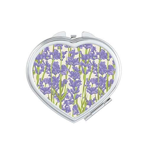 Bloemen Plant Schilderij lavendel Hart Compact Make-up Spiegel Draagbare Leuke Hand Pocket Spiegels Gift