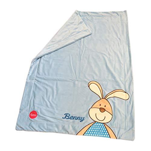 Sigikid Kuschel-Babydecke mit Namen bestickt Semmel Bunny 100 cm x 75 cm hellblaue Krabbeldecke als Namensdecke personalisiert aus weichem Plüsch 41555mn